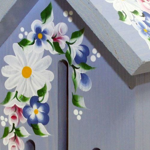 Hand-painted &lsquoBlue Butterfly House with Roses & Daisies (Close Up)