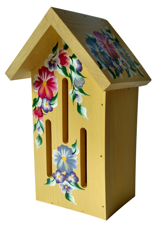Yellow Butterfly House with Pansies